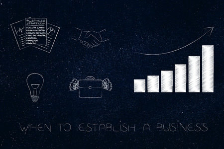business timing conceptual illustration: when to establish a business with icons next to positive growth graph Stock Illustration - 104464280