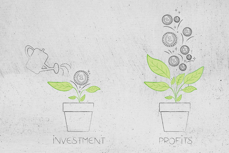 from initial investment to great profits conceptual illustration: man watering plant with one coin on it and many more coming out of it Stock Illustration - 104464284