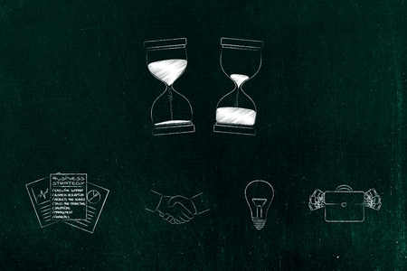 business timing conceptual illustration: hourglasses with before and after time passying with company and office-themed icons below Stock Photo