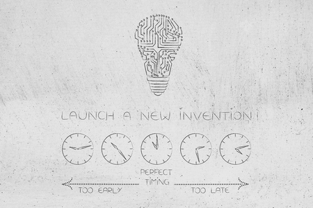timing and business conceptual illustration: when to launch new inventions withmicrochip lightbulb and clocks depicting time passng by from too early to too late Stock Photo
