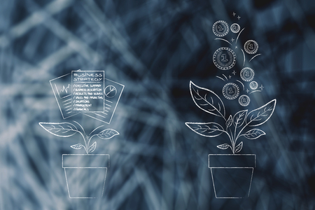 from business strategy to great profits conceptual illustration: plant with documents on it and many more coming out of it Stock Illustration - 104501892