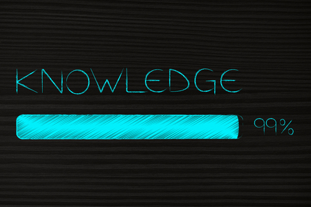 knowledge conceptual illustration: text with progress bar loading