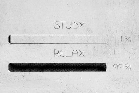 study vs relax conceptual illustration: 99 per cent relax 1 per cent study progress bars