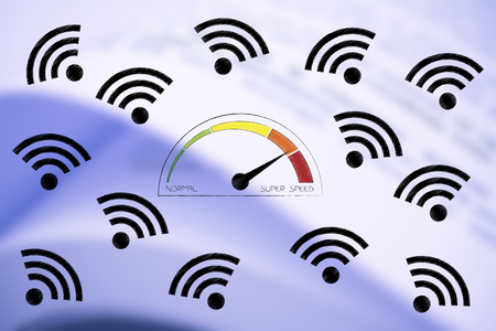technology hardware speed conceptual illustration: speedometer going from normal to super speed surrounded by wifi icons
