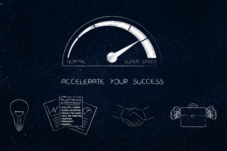 accelerate your success conceptual illustration: speedometer with business icons below