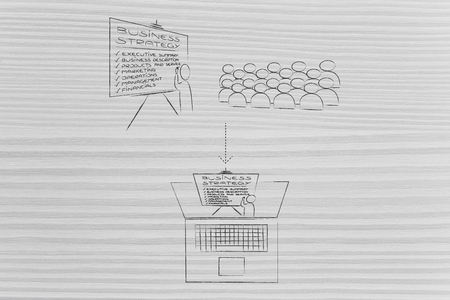 business meetings remotely or at the office conceptual illustration: from company conference room to online presentation 写真素材 - 105071270