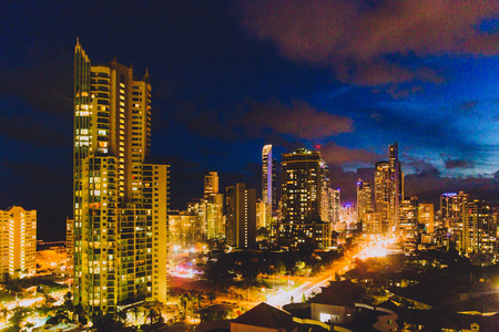 GOLD COAST, AUSTRALIA - January 9th, 2015: night view of SUrfers Paradise with city lights and high-rise buildings