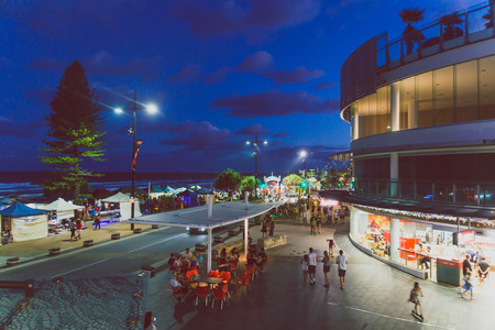 GOLD COAST, AUSTRALIA - January 7th, 2015: Surfers Paradise beachfront restaurants area by night