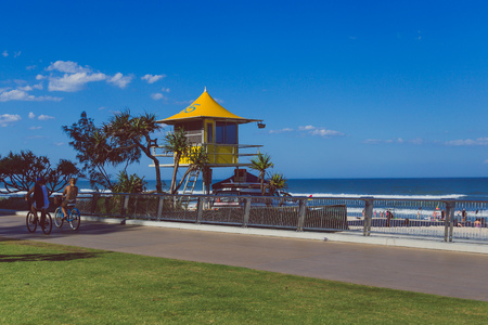 GOLD COAST, AUSTRALIA - January 15th, 2015: iconic yellow lifeguard hut on the beach in SUrfers Paradise