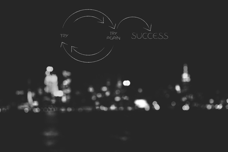 try and try again until you reach success: text and arrow with the word Again in italics and unfocused skyline background Stock Photo