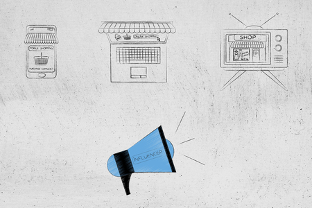 influencer marketing conceptual illustration: online and tv shopping with megaphone calling for audience attention Stock Photo