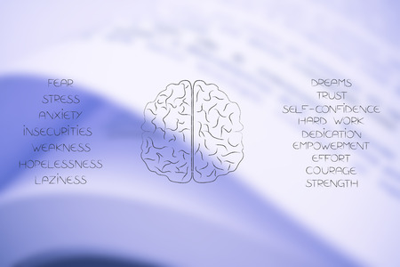 from fear to success conceptual illustration: brain icon in between lists of both positive and negative feelings