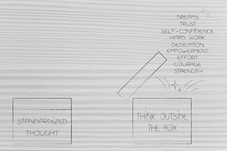 from fear to success conceptual illustration: standardized thought box next to Think Outside the Box one with list of positive feelings popping out