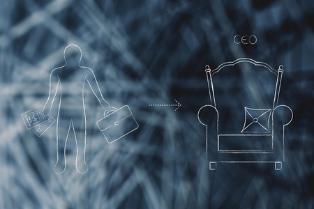 career progression conceptual illustration: from employee to CEO with business man and throne icons