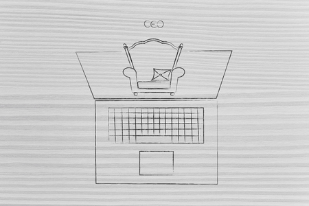 executive and online businesses conceptual illustration: CEO chair popping out of laptop screen Stock Photo