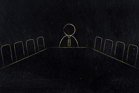 executive decisions and strategy conceptual illustration: company meeting room with employee at the end of the desk