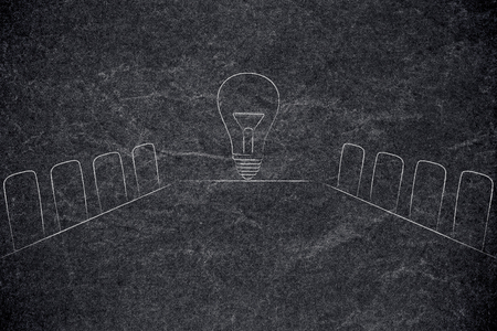 executive decisions and strategy conceptual illustration: company meeting room with idea lightbulb at the end of the desk Stock Photo