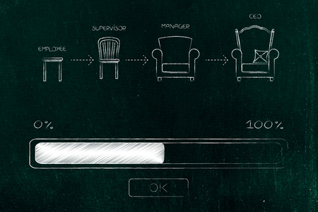 career progression conceptual illustration: step by step from employee to CEO with progress bar loading