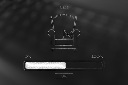 executive and online businesses conceptual illustration: CEO chair with progress bar loading