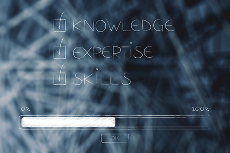 knowledge expertise skills ticked off with progress bar loading below