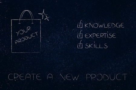 knowledge expertise and skills conceptual illustration: ticked off captions next to product in shopping bag