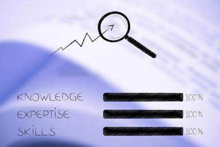 knowledge expertise and skills conceptual illustration: progress bars at 100 per cent next to magnifying glass analysing stats
