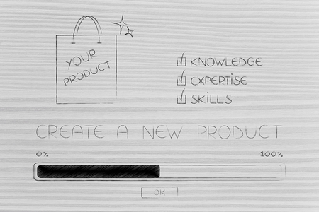 knowledge expertise and skills conceptual illustration: progress bar loading and  captions next to product in shopping bag