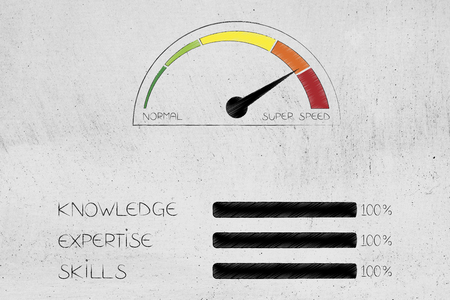 knowledge expertise and skills conceptual illustration: progress bars at 100 per cent next to speedometer on super speed mode