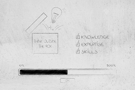 knowledge expertise and skills conceptual illustration: progress bar loading and  captions next to Think Outside the box icon with idea lightbulb popping out Stock Photo