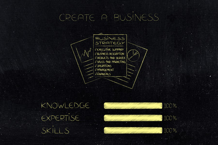 knowledge expertise and skills conceptual illustration: progress bars at 100 per cent next to business strategy documents