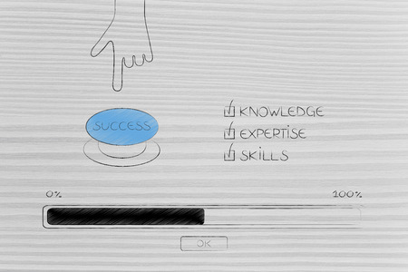 knowledge expertise and skills conceptual illustration: progress bar loading and  captions next to hand pushing Success button Stock Photo