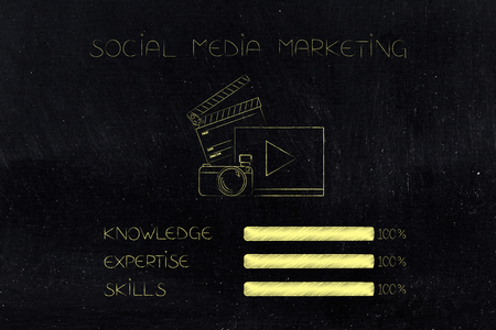 knowledge expertise and skills conceptual illustration: progress bars at 100 per cent next to social media marketing icon