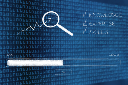 knowledge expertise and skills conceptual illustration: progress bar loading and  captions next to magnifying glass analysing stats