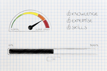 knowledge expertise and skills conceptual illustration: progress bar loading and  captions next to speedometer on super speed mode Stock Photo