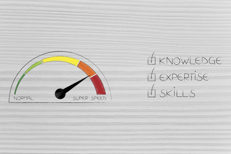 knowledge expertise and skills conceptual illustration: ticked off captions next to speedometer on super speed mode Stock Photo