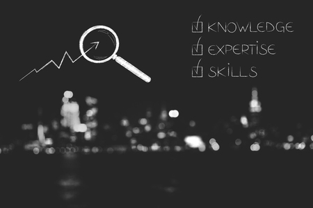 knowledge expertise and skills conceptual illustration: ticked off captions next to magnifying glass analsing stats Stock Photo