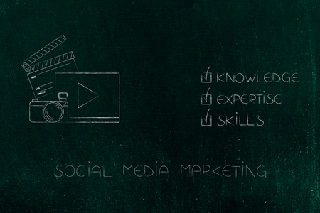 knowledge expertise and skills conceptual illustration: ticked off captions next to social media marketing icon Stock Photo