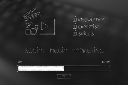 knowledge expertise and skills conceptual illustration: progress bar loading and  captions next to social media marketing icon Stock Photo