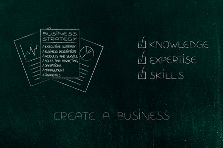 knowledge expertise and skills conceptual illustration: ticked off captions next to business plan documents Stock Photo