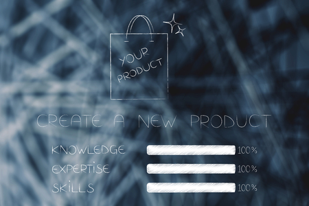 knowledge expertise and skills conceptual illustration: progress bars at 100 per cent next to product in shopping bag