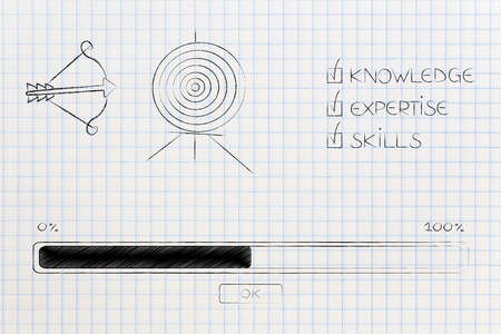 knowledge expertise and skills conceptual illustration: progress bar loading and  captions next to target and arrow