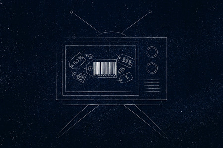 business communication and persuading customers conceptual illustration: Marketing price tag icon on television screen