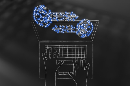 encryption and cryptography conceptual illustration: digital keys with led lights popping out of laptop screen with user typing on keyboard
