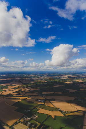 aerial view of Ireland with fields and meadows in dry conditions after the 2018 summer drought