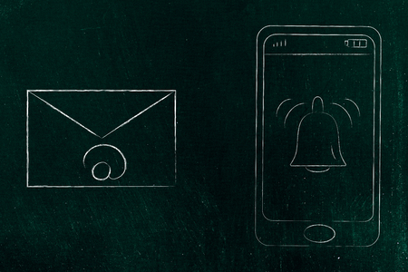 push notifications settings and marketing conceptual illustration: ringing notification bell on smartphone screen next to email icon