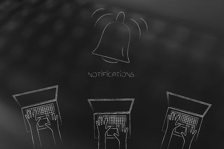 push notifications settings and marketing conceptual illustration: notification bell ringing and group of laptop users below 写真素材