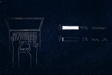 99 per cent internet 1 per cent real life conceptual illustration: laptop user typing on keyboard next to survey