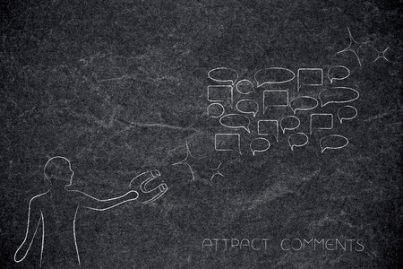 internet communication and feedback conceptual illustration: person with magnet attracting comment speech bubbles