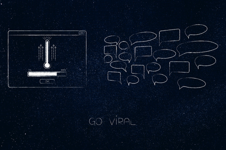 online popularity conceptual illustration: go viral pop-up message with thermometer next to group of comments Banque d'images