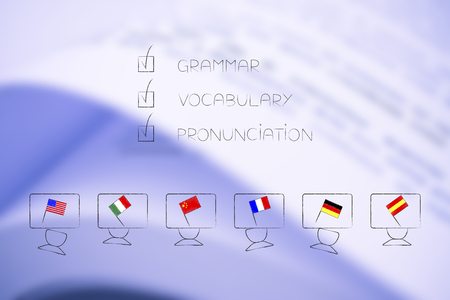 studying foreign languages conceptual illustration: students desks with flags and grammar vocabulary and pronunciation text ticked off above